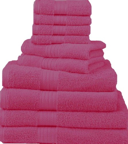 Hot Pink Towels Bathroom: Divatex Home Fashions 10-Piece Deluxe Towel Sets, Hot Pink