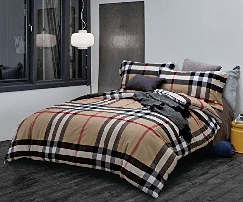 Bedream Home Textile Plaid Checks Pattern Comfortable Microfiber 100% Cotton - 4 Pieces Duvet Cover Bedding Set Fitted Sheet Set, Queen Size Classic Brown (British Bedding Queen compare prices)