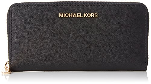Michael Kors Travel Zip Around Black Leather Continental Wallet