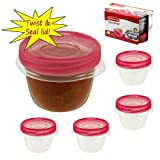 Rubbermaid Take Along 9.64 oz Twist & Seal Clear Plastic Storage Containers - Set of 4 - BPA Free