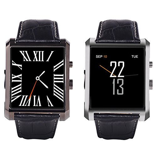 """Wintimes Deluxe Edition Calfskin Belt Waterproof 1.5"""" 1.3MP Bluetooth 4.0 Smart Watch DM08 WristWatch with Full HD IPS Display for Android & IOS with Camera Recorder Pedometer Sleep Monitoring-Silver"""