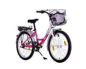 Karcher Mädchen Cityrad Mono, 3-Gang Rücktrittbremsnabe, weiß/pink, Rahmenhöhe: 30 cm, Reifengröße: 20 Zoll (50,8 cm), 280019 by Karcher