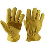 OZERO 3 Pairs Premium Cowhide Leather Work Gloves with Reinforced Patch Palm(Extra Large)