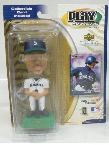 2001 UDA Ichiro Suzuki Mariners Rookie All Star Playmaker Bobblehead with Rookie Card
