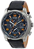 "Citizen Mens AT9010-28F ""World Time A-T Limited Edition"" Stainless Steel Eco-Drive Watch with Leather Band"