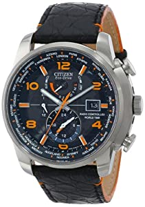 """Citizen Men's AT9010-28F """"World Time A-T Limited Edition"""" Stainless Steel Eco-Drive Watch with Leather Band"""