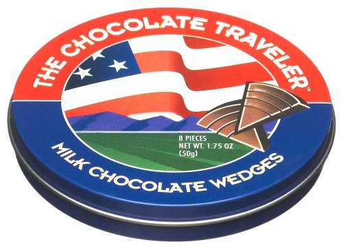 The Chocolate Traveler All-American Milk Chocolate Wedges, 1.75-Ounce Tins (Pack of 12)