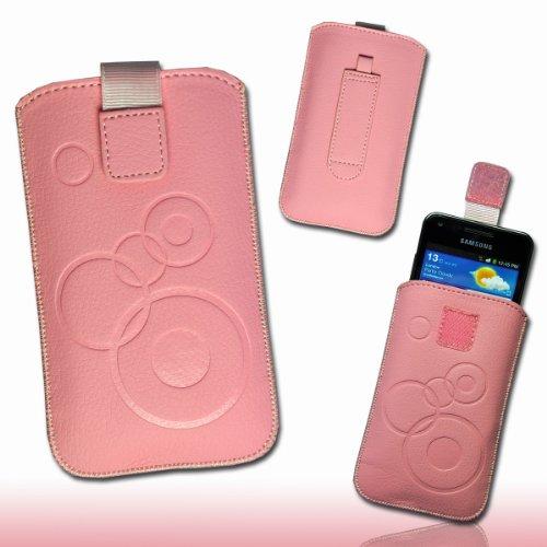 Handy Tasche Hülle Case Kunstleder mit Auszugband und Klettverschluss rosa / pink M73 Gr.3 für Samsung Galaxy ACE 2 / Samsung Galaxy ACE Plus / Nokia Lumia 610 / Nokia N9 / Huawei Vison