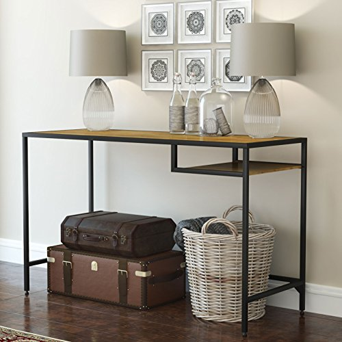 Industrial Vintage Design Space Saver Entryway Hallway Console Table Desk with Lower Shelf Storage , Wood Top and Metal Black Metal Frame (Industrial Console compare prices)