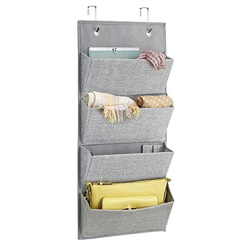 mDesign Wall Mount/Over Door Fabric Closet Storage Organizer for Clutch Purses, Handbags, Scarves, Sunglasses - 4 Pockets, Gray (Scarf Organizer Over The Door compare prices)