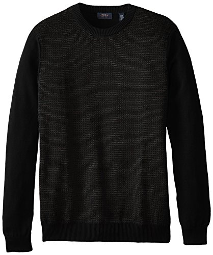 Arrow Men's Big-Tall Long Sleeve Dot Crew Sweater, Black, XXX-Large Tall