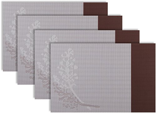 Secret Life(TM) Set of 4/6 Resorts Style Table Dinner Placemats Easy Clean (4, Brown) (Leopard Hunter Liners compare prices)