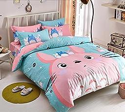 MeMoreCool Pink Totoro Duvet Cover Set Cute Kids Bedding Set