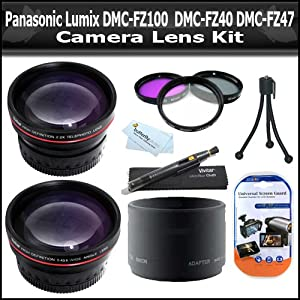 Lens Kit For Panasonic Lumix DMC-FZ100 DMC-FZ40 DMC-FZ47 Digital Camera Includes + 0.45X Professional Wide Angle HD Lens w/ Macro + 2x HD Telephoto Lens + Multi-Coated 3-PC Filter Kit (UV-CPL-FLD) + Lens Adapter + Lens Pen Kit + Bp MicroFiber Cloth + More