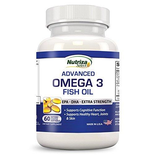 Nutriza Select - Omega 3 a base di olio di pesce - Grande efficacia - Capsule morbide di EPA e DHA - Prodotto concentrato, 1 compressa contiene 1000 mg di acidi grassi Omega 3 - Prodotte negli Stati Uniti presso uno stabilimento certificato GMP - Inodore - Rivestite con enterica
