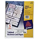 Avery Business Card Pages, Tabbed, Pack of 5 (25410)