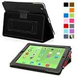 Snugg iPad 3 & 4 Case - Smart Cover with Flip Stand & Lifetime Guarantee (Black Leather) for Apple iPad 3 and 4