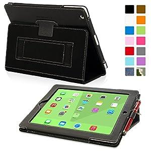 Snugg - Funda/ Smart Case de cuero para iPad 3 y iPad 4 con soporte plegable, correa elastica, lazo para lapiz digital stylus, interior fibra Nubuck, Negro