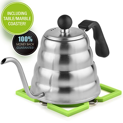 Pour Over Kettle - Great December Sale: Silicon Coaster Bonus - for Tea and Coffee - Brushed Stainless Steel Gooseneck Dripper, Ergonomic Designed, 40 Oz/1.2 L
