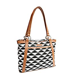 Kailo Chic Laptop Tote - Black and White Tribal