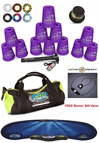 """Speed Stacks Custom Combo Set - The Works: 12 PURPLE 4"""" Cups, Cup Keeper, Quick Release Stem, Pro Timer, Gen 3 Mat, Snap Tops, Gear Bag + FREE Bonus: Active Energy Power Balance Necklace $49 Free"""