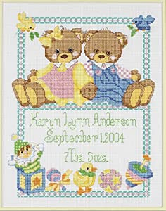 Janlynn Baby Bears Birth Sampler Counted Cross Stitch Kit