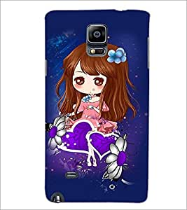 PrintDhaba Cute Girl D-4861 Back Case Cover for SAMSUNG GALAXY NOTE 2 (Multi-Coloured)