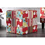 Neofurn - PRINTEMPS - design patchwork cube stool floral footstool