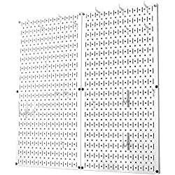 Wall Control 30-KTH-200 WW Kitchen Pegboard Organizer Pots and Pans Pack Storage and Organization Kit Accessories, White/White