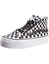 Vans Unisex SK8-Hi Platform Checker Black And True White Sneakers - 6 UK/India (39 EU)