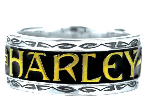 Harley-Davidson .925 Silver Script Ring with Gold Accents