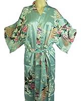 BTP! Silk Kimono Robe Gown Women's Sleepwear Peacock Floral Bathrobe Soft Gift