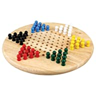 Lian Wood Chinese Checkers Board Game Set with Wooden Peg Pieces – 11 Inch Set