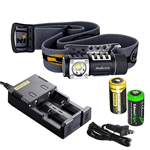 Fenix Hl50 365 Lumen Light Weight Led Headlamp With Genuine Nitecore Rcr123A Nl166 Li-Ion Rechargeable Battery, Nitecore I2 Intelligent Charger And Edisonbright Cr123A Battery