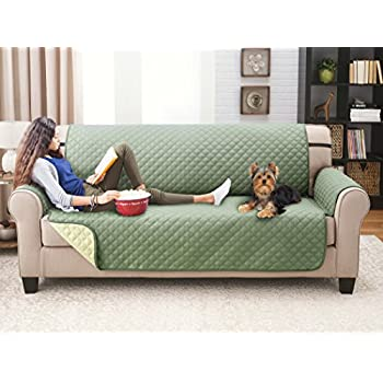 Deluxe Reversible Sofa Furniture Protector, Olive / Sage
