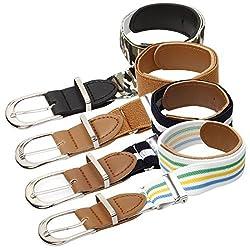 Bundle Monster 4pc Adjustable Elastic Band Boys Fashion Stretch Belts - Set 2, Dapper Lad