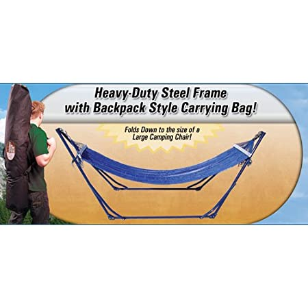 The Perfect Portable Hammock to Take With You, EVERYWHERE! Strong, Durable, Simple to Use. Comes with a Handy Carrying/Storage Bag. This portable folding hammock weighs only 20lbs. but can support a 250lb. load! It is very convenient. It is very usef...
