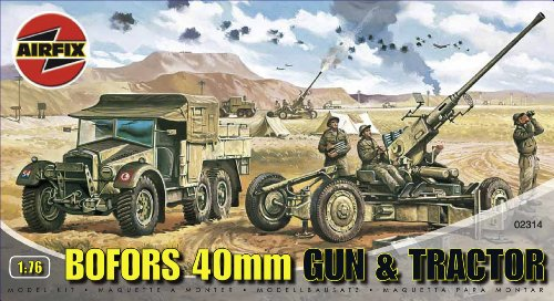 Airfix A02314 1:76 Scale Bofors 40MM Gun and Tractor Military Vehicles Classic Kit Series 2