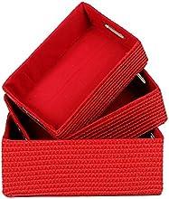 Indian Handicrafts Storage Baskets SmallMediumLarge Bright Red Set of 3