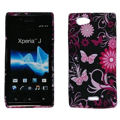handy-point Blumen Schmetterlinge Gummihülle Silikonhülle Hülle aus Silikon Gummi Schutzhülle Schale für Sony Xperia J, ST26i, schwarz