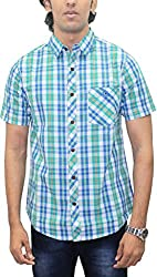 AA' Southbay Men's Mint Green & Blue Checks 100% Premium Cotton Half Sleeve Casual Shirt
