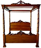Lincoln Canopy Four Poster Bed UK 5' Kingsize Solid Mahogany Antique Reproduction