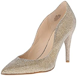 Nine West Women\'s Fiddler Fabric Dress Pump, Gold, 5.5 M US