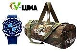 V-Luma Combo of Army Gym Bag with Sport Watch VLCOM1027