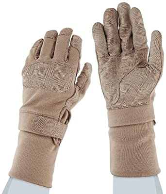 "Ansell ActivArmr 46-409 Nomex Kevlar Flame Resistant Tactical Combat Glove with Textured Grip, Cut Resistant, Extended Cuff, 12"" Length, (1 Pair)"