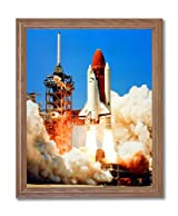 NASA Space Shuttle Challenger Blast Off Photo Wall Picture Oak Framed Art Print
