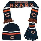 Chicago Bears Boy's 8-20 3-Piece Gift Set Scarf, Beanie Hat & Gloves