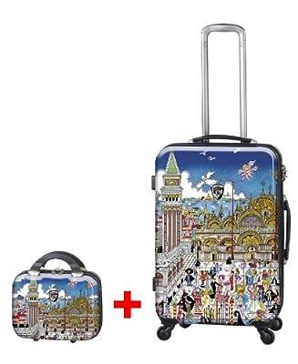 Heys USA - 2pcs. - SET 50 GBP Discount - Fazzino Venezia, High-quality designer artist luggage set - 66 cm 4-wheels Trolley and Beauty Case by Heys USA