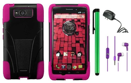 #1  MOTOROLA DROID MAXX XT1080M / Droid Ultra XT-1080 (Verizon) Premium T-Stand Protector Hard Cover Case + Travel (Wall) Charger + 3.5MM Stereo Earphones + 1 of New Metal Stylus Touch Screen Pen (Pink / Black)