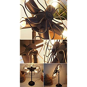 Perfectshow 5-lights Vintage Industrial Metal Fans shape Table Lamp Desktop Decor Retro Rustic Bedside Home Decor